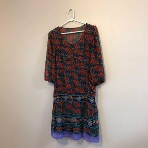 Mango MNG Casual sheer Loose fit boho style dress